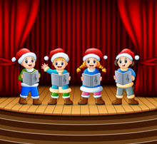 Cartoon Children Singing Christmas Carols On The Stage