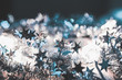 Tinsel with stars of silver color close-up