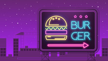 Neon Sign With Burger