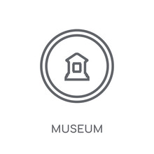 Museum Sign Linear Icon. Modern Outline Museum Sign Logo Concept On White Background From Traffic Signs Collection