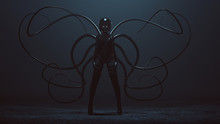 Sexy Biker Demon Woman In A Bodice An Leather Boots And Crash Helmet With Tactile Tentacles In A Foggy Void 3d Illustration 3d Render