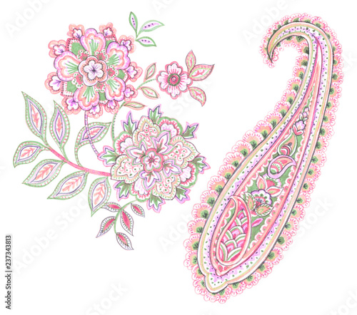 Fotomural Watercolor drawing : Paisley Style