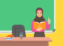 Arab Woman Teacher In Hijab St...