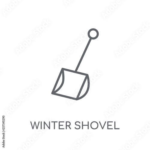 Spoed Foto op Canvas Licht, schaduw winter Shovel linear icon. Modern outline winter Shovel logo concept on white background from Winter collection