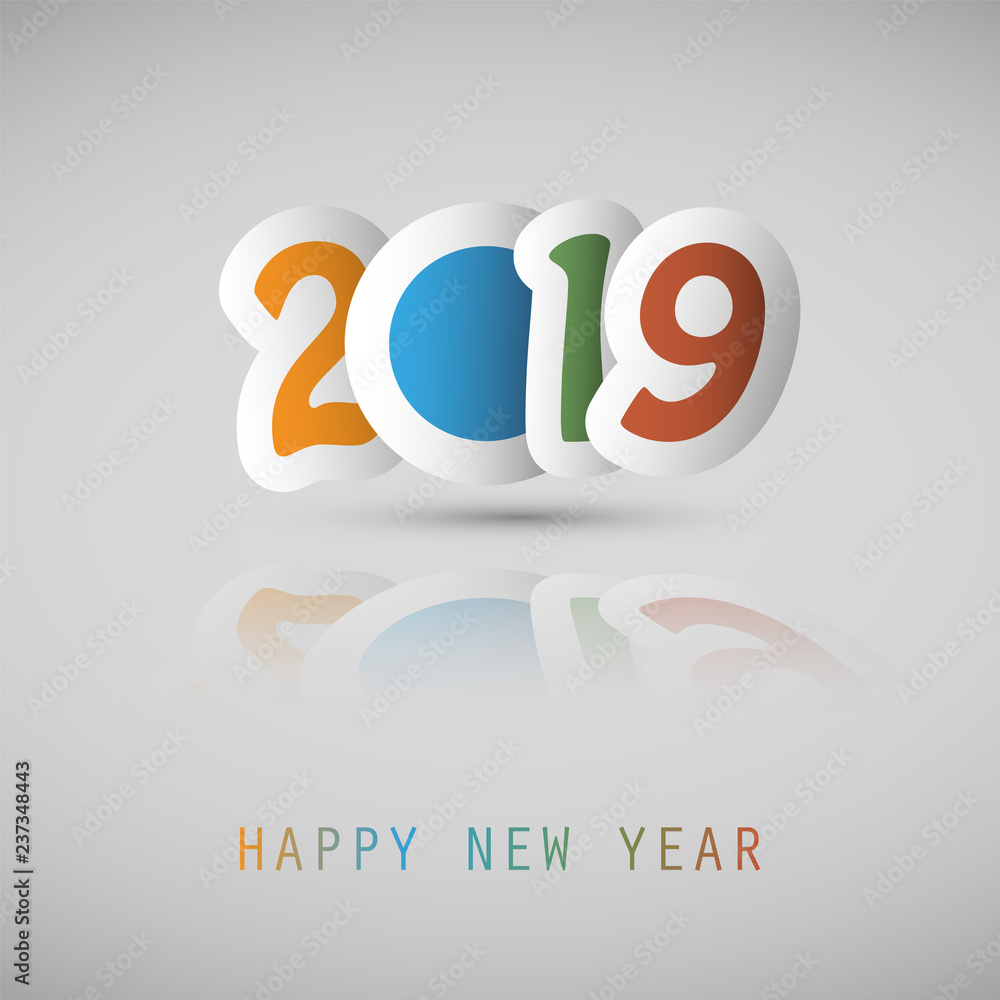 Fototapeta Simple Colorful New Year Card, Cover or Background Design Template With Paper Cut Numerals - 2019