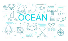 Ocean Theme Banner With Thin L...
