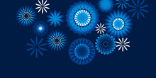 Geometric Floral Style Snowflakes Pattern On Blue