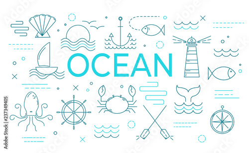 Valokuva Ocean theme banner with thin line icons.