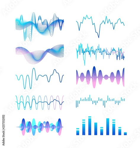 Collection of different gradient colored sound waves, audio