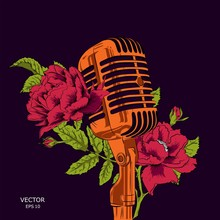 The Image Of The Microphone With Flowers. Floral Print For Clothes. Floral Print Design With Lettering. Greeting Card. Vector Illustration.