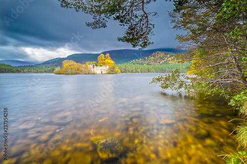 Loch an Eilean castle in Rothiemurchus Forest by Aviemore Wallpaper Mural