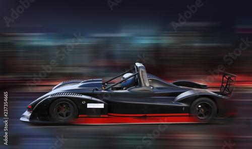 Blue race car racing on race track Tapéta, Fotótapéta