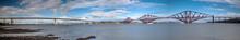 Panorama Of Forth Bridge, Forth Road Bridge And Queensferry Crossing Bridge