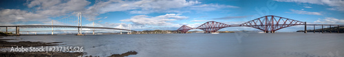 Photographie  Panorama of Forth Bridge, Forth Road Bridge and Queensferry Crossing Bridge