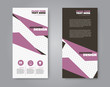 Narrow flyer and leaflet design. Set of two side brochure templates. Vertical banners. Purple color. Vector illustration mockup.