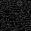 "Mathematical vector seamless background with various algebra equations, formulas, calculations. Math endless texture, ""handwritten with chalk on blackboard"" effect"