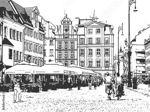 European old town. Vintage hand drawn sketch © savanno
