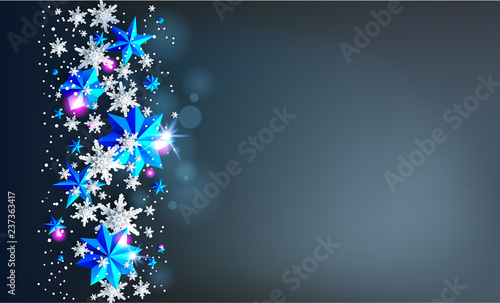 Fotobehang - Realistic shine Banner with place for text template. Shine winter decoration on dark background with snowflakes and stars