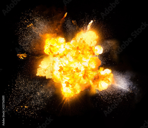 Fotografie, Obraz Realistic fiery explosion with sparks over a black background