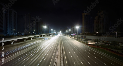 Dubai road at night
