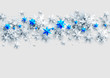 Realistic Banner with place for text template. Shine winter decoration with snowflakes, stars and balls.