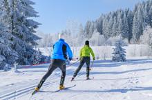 Workout Beim Skating In Herrlicher Winterlandschaft