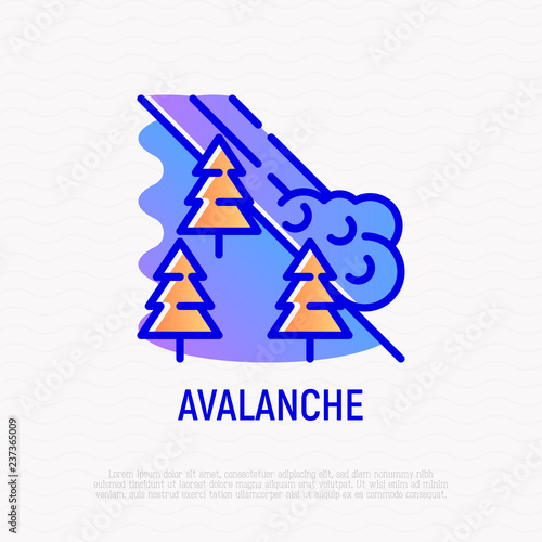 Leinwand Poster Avalanche thin line icon: snowslip from mountains
