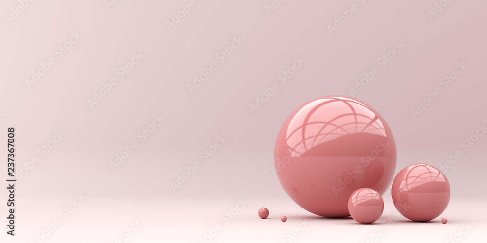 Fototapety, obrazy: Abstraction for advertising. Pink balls on a pink background. 3d rendering illustration.