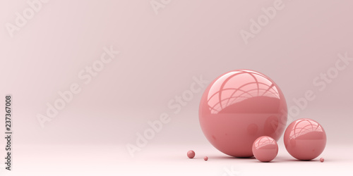 Tuinposter Bol Abstraction for advertising. Pink balls on a pink background. 3d rendering illustration.