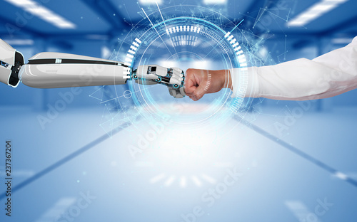 Photo Businessman Robot Fist Bump Connection HUD Network