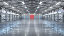 Hangar Interior With Gate. 3d ...