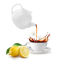 A Teapot With A Cup Of Lemon T...