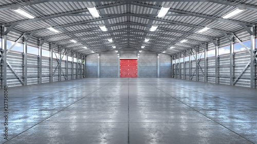 Fototapeta Hangar interior with gate. 3d illustration obraz