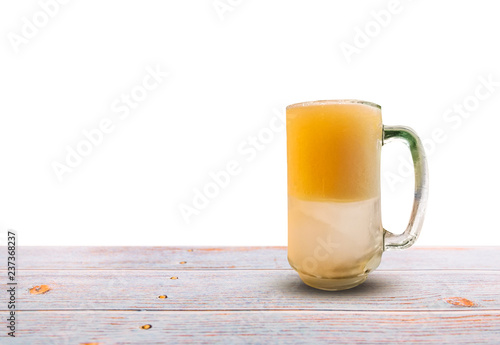 Tuinposter Bier / Cider Beer on wooden table isolated on white background