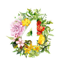 Floral Number 4 - Four From Fl...