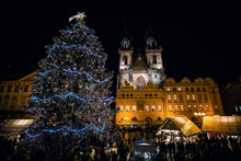 PRAGUE, CZECH REPUBLIC : Group Of People Enjoy Christmas Market In Prague On December, 2018 In Prague. It Attracts More Than 750 Thousands Of Visitors During The Whole Advent Time. EUROPE