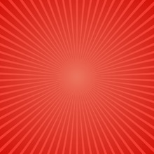 Red Abstract Retro Ray Burst Background - Gradient Vector Graphic Design With Radial Stripes