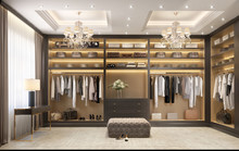 Luxury Dressing Room With Crystal Chandeliers
