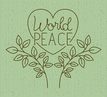 Heart With Wreath Peace Message Drawn