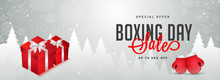 Website Header Or Banner Design With Illustration Of Gift Boxes, Boxing Gloves And 50% Discount Offer For Boxing Day Sale.