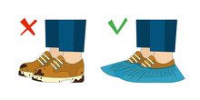 Dirty Shoes And Shoe Covers. Vector Illustration