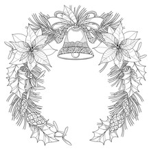 Vector Wreath With Outline Poi...