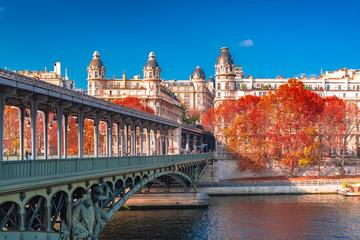 Paris, panorama in autumn, the Bir-Hakeim bridge and beautiful parisian buildings, view of the Seine