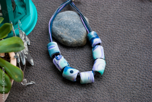 Fotografía  Handmade boho style blue winter beads necklace of polymer clay