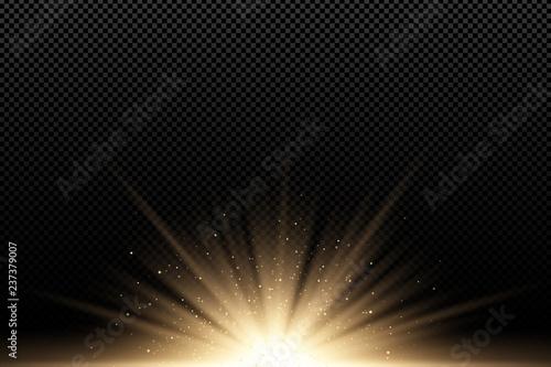 Fototapeta Golden stylish light effect on a dark transparent background. Golden rays. Bright explosion. Flying golden magical dust. Sunlight. Christmas light. Backlight. Vector illustration obraz