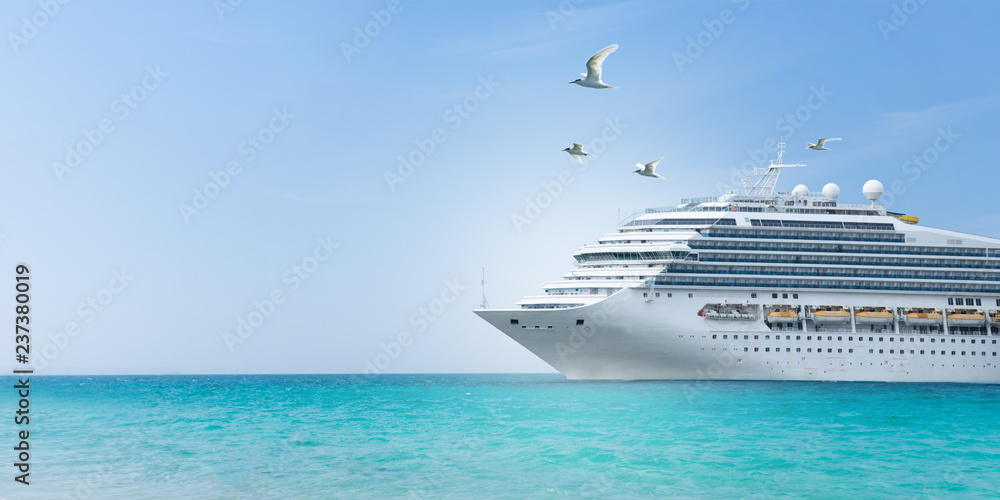 Fototapeta Aerial view of beautiful white cruise ship above luxury cruise concept tourism travel on summer holiday vacation time.