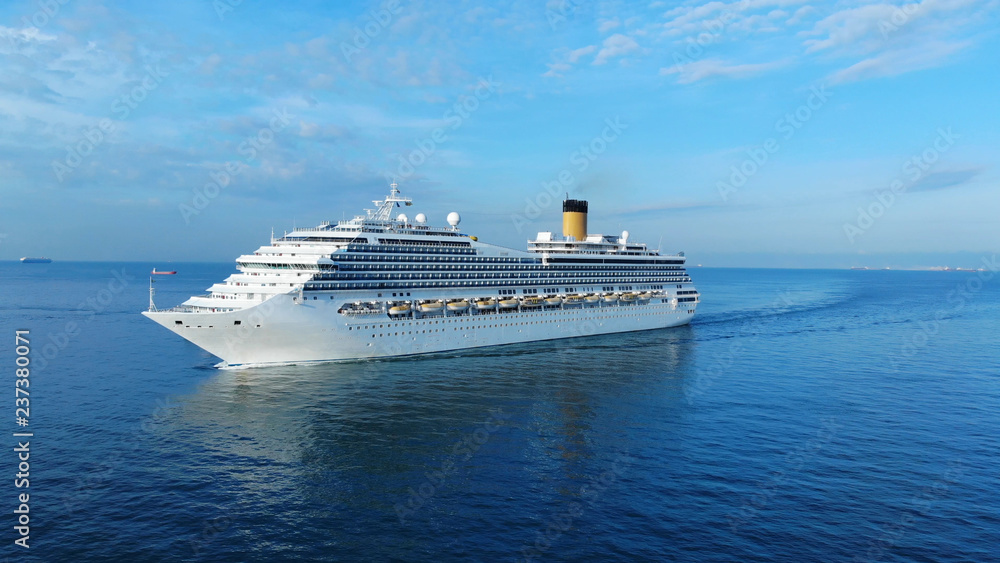 Fototapety, obrazy: Aerial view of beautiful white cruise ship above luxury cruise concept tourism travel on summer holiday vacation time.