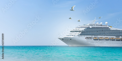 Billede på lærred Aerial view of beautiful white cruise ship above luxury cruise concept tourism travel on summer holiday vacation time