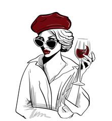 Panel Szklany Do restauracji red beret woman with glass of wine