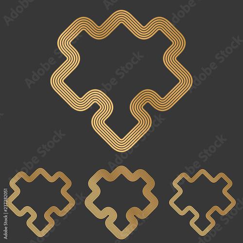 Fotografie, Tablou  Bronze line puzzle symbol logo design set